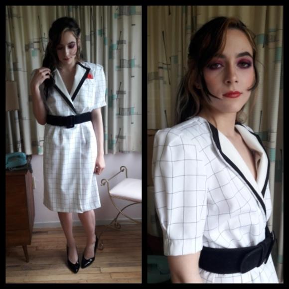 Gorgeous Vtg 80s Black White Dress